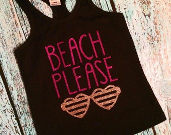 Beach Graphic Tank Top, Beach Tank, Beach Please Racerback Tank, Cruise Shirt, Vacation Shirt, Sunglasses Beach Please Tank, Summertime Tank
