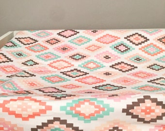 Tribal changing pad cover | baby girl change pad | aztec changing pad cover | blush, pink, mint green | modern changing pad |