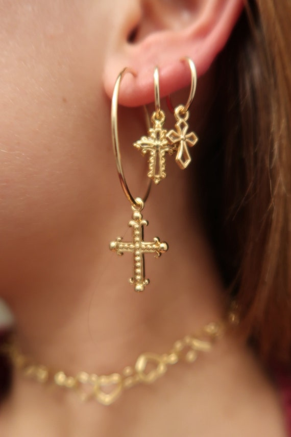 SALE CROSS HOOPS Ball Cross Luna Cross Bones Cross gold
