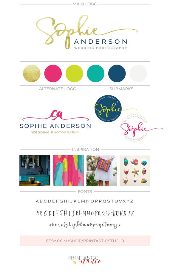 Premade logo kit handwritten initials feminine fashion like this item reheart Image collections