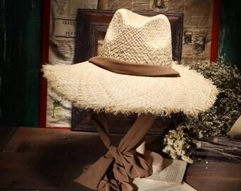 With flash lafite straw hat retro bowknot costume children summer beach hat sun hat