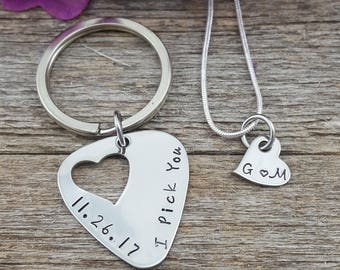 Guitar pick Keychain and necklace set hand stamped - I pick you with date - his hers - couples - anniversary - matching set