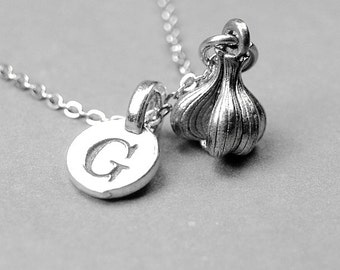 Garlic Bulb Necklace 3D Small pewter Charm antiqued silver plated pewter, initial necklace, initial hand stamped, personalized, monogram