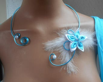 Turquoise necklace and white flowers for bride