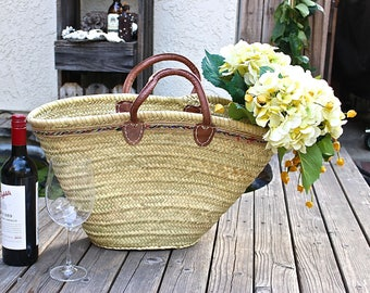 Large French Market Tote, French Basket, Straw Beach Bag, French Market Panier, Picnic Basket, Ecofriendly Bag, Shopping Basket,