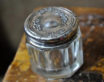 Sterling Powder Jar, Dresser jar, Antique Vintage Crystal Sterling Silver lid, Victorian dresser jar, #1654