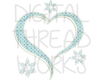 Frozen Icy Snowflake Heart Frame Machine Embroidery Design Pattern, 4x4 5x7 6x10 instant digital download . ITEM# FROZHRT