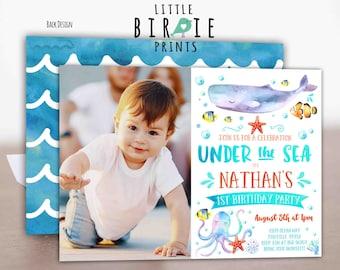 Under the sea invitation Boy Under the sea birthday party invitation Under the sea first birthday party invitation Pool Party Invitation