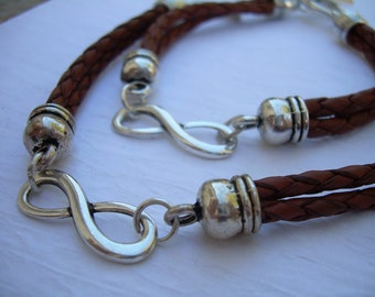 Couples Bracelet, His and Hers Set of  Infinity Bracelets, Leather Bracelet, Couples Jewelry,Mens, Womens Bracelet, Couples Gift, Matching