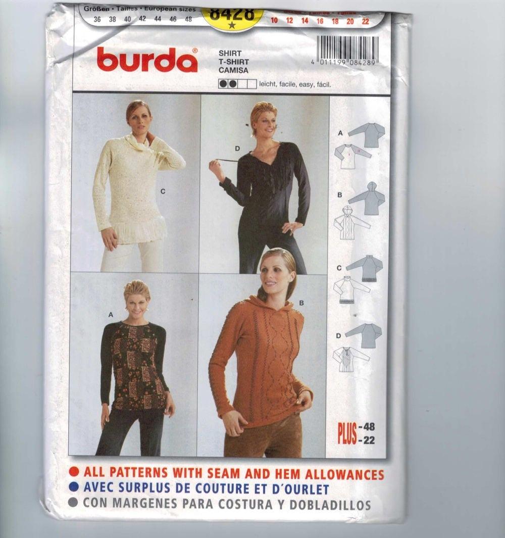 Misses sewing pattern burda 8428 easy pullover tee shirt t description pattern number burda 8428 jeuxipadfo Choice Image