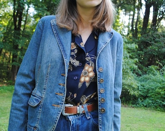 Vintage Jacket, Denim Jacket, Jean Jacket, St John's Bay, 90's Jacket, Medium Wash, Vintage Clothing, Small, Petite, Collared Jacket