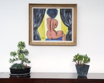 Framed canvas _ nude female oil painting