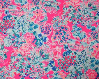 Cotton poplin fabric squares and pieces 6 X 6, 9 X 18  or 18 X 18 inches  Pink Gypsea / pieces   ~Lilly Pulitzer~