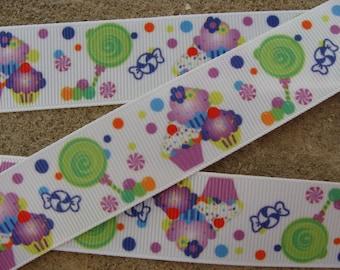 """3 yards purple Cupcake ribbon 1"""" Birthday cupcake ribbon candy hair bow ribbon party ribbon Printed Ribbon"""