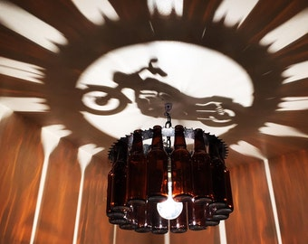 Motorcycle,  Bottle Light, chandelier, gift , Harley, motorcycle, home decor, lighting, bar, dining,home and living
