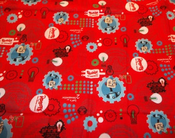 Robots Let's Get Inventin' Robot Powered Red Cotton Fabric BTHY Out of Print