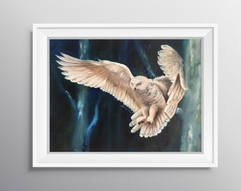 Snowy Nightfall - Physical Print of Snowy Owl in Dark Forest Painting (Multiple Sizes)