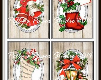 Woodgrain Retro Christmas Images Collage Digital Images printable download file