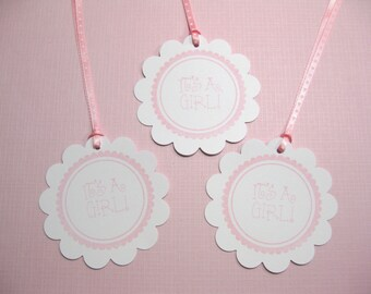 10 Baby Shower Tags for Favors - It's a Girl tags - Baby Tags - Pink Baby Girl Tags - Gift Tags - Thank You Tags