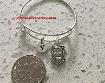 Police badge initial bangle,  police jewelry, police wife jewelry gift, gift for policewoman, police bracelet, law enforcement jewelry