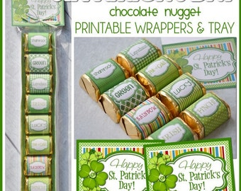 ST. PATRICK'S DAY Chocolate Nugget Wrappers, Shamrock, Lucky - Printable Instant Download