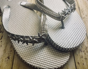 Silver Bridal Flip Flops, Wedding Flip Flops, Rhinestone Shoes, One of a Kind Shoes, Dancing Shoes, Sandals, Beach Wedding Shoes Size 10/11