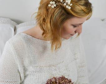 Bridal Hairpin Set Forgotmenotflowers Silver Ivory Porcelane Pearls
