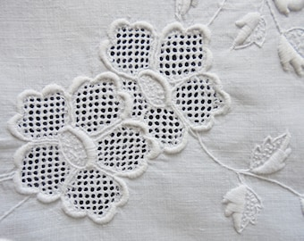 Antique Mountmellick Embroidery Table Centre Mat - Whitework - Hand Sewn - Wild Rose