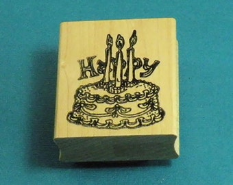 Birthday Cake with Candles Rubber Stamp