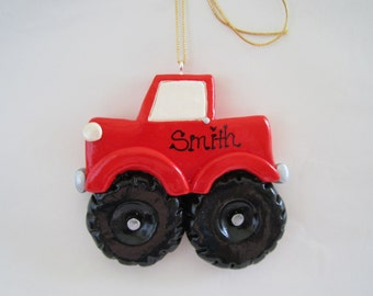 Personalized Monster Truck Christmas Ornament/ big wheels truck/ kid ornament/ boys toys