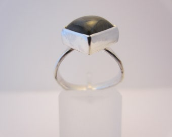 square labordite ring set in sterling silver