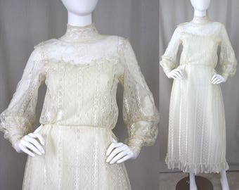 70s Ivory Lace Illusion Victorian Poet Sleeve Maxi Dress | S