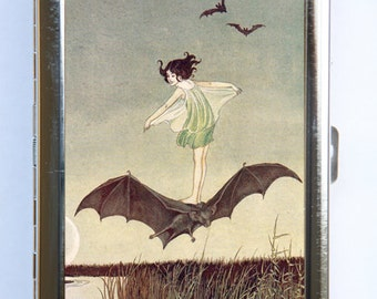 Girl Riding Bat Cigarette Case id case Wallet Business Card Holder Art Nouveau fairytale