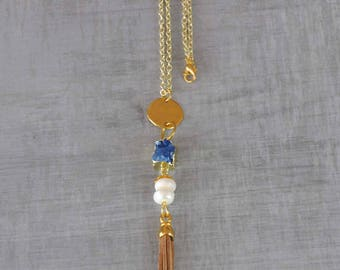 Leather Tassel Necklace,  Boho Pearl Necklace,  Bohemian Crystal Necklace,  Blue Geodes Crystal Necklace