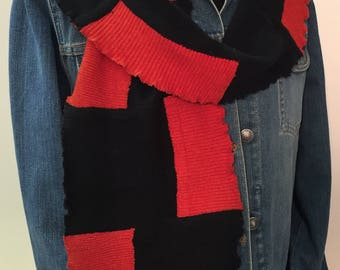 Luxurious cashmere scarf, upcycled, colorblock black and bright orange solids, 100% cashmere scarf, warm scarf, gift for woman,soft scarf