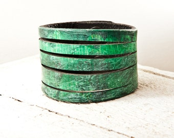 Eco Friendly Bracelet - Green Jewelry - Earthy Earth Tones - Upcycled Limited