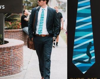 Hawaiian Surf Necktie for Mens and Boys, Surfing Necktie, Beach Tie, Blue Tie,Surf Necktie, Beach Necktie, Tropical Tie, Wedding Tie