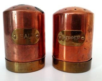 Brass And Copper Salt & Pepper Shaker Set