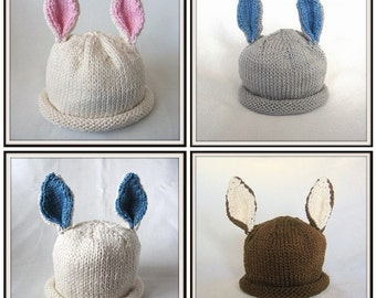 Boston Beanies  Bunny Hat, Knit Baby Cotton Hat, Custom Order You Choose Colors