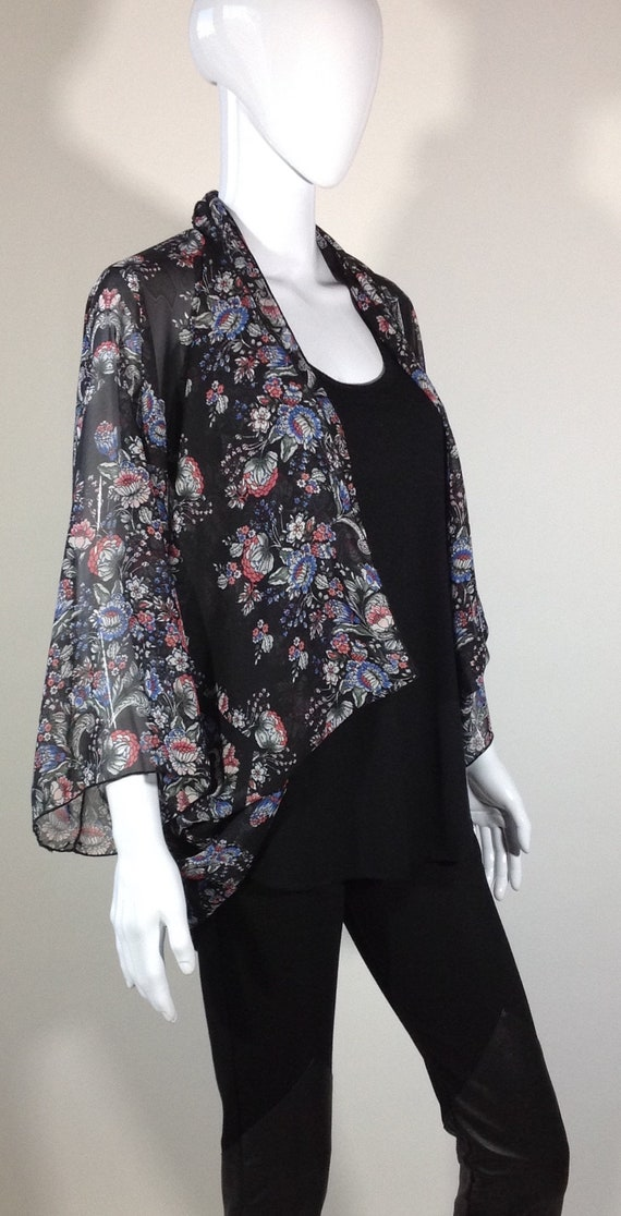 Black Black Sheer Floral Floral Black Kimono Long Floral Kimono Long Sheer Kimono Long Sheer Sheer rPrqwd5