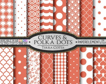 Terra Cotta Polka Dot Digital Paper: Earth Colors Orange Geometric Paper - Printable Terracotta Backdrops with Earthy Polkadots
