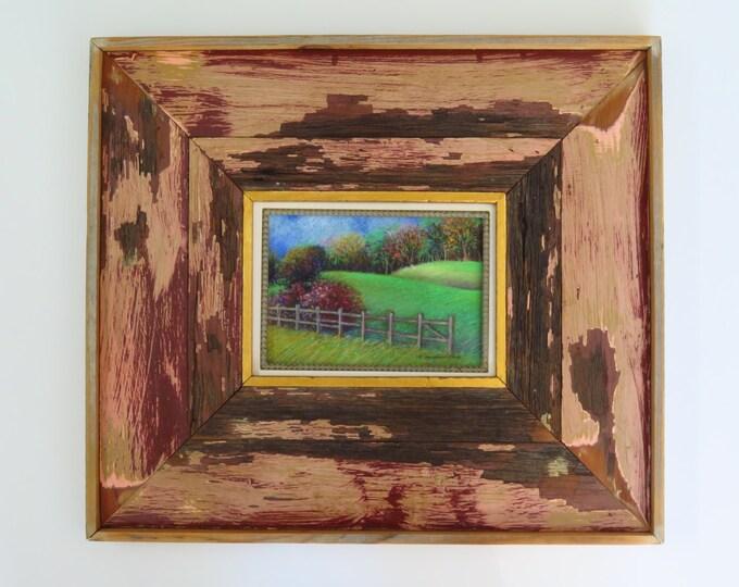 Pastel Painting - Landscape - Repurposed frame - Hurricane Katrina Wood - Authentic - Soft Pastel Drawing - Handmade - Free Priority Ship