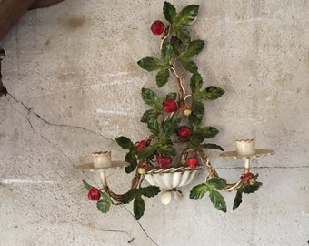 Italian tole wall sconce. Strawberrys and cream | home and living decor