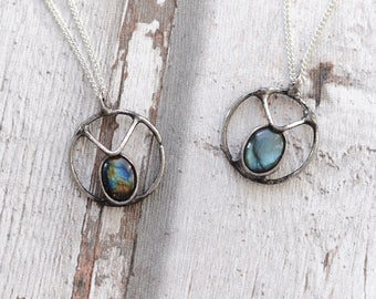 blue labradorite necklace   / nickel&lead free  chain  /