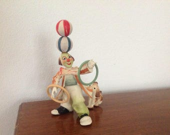 Vintage ANRI Toriart Clown Figurine Tossing Rings Italy