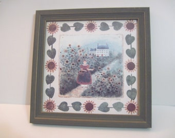 Heart of America Portfolio Girl with Sunflowers art print by Carol J Endres framed signed by the artist#24/5000 COA