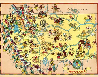 1930's Vintage Montana Picture Map State Cartoon Map Print Gallery Wall Art Home Decor Collector Gift for Traveler Birthday Wedding Gift RT
