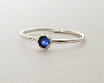 Blue Sapphire Ring in Sterling Silver