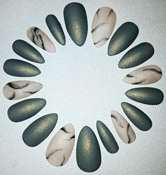 Grey Marble Stiletto Nails Fake Nails Press on Nails Glue