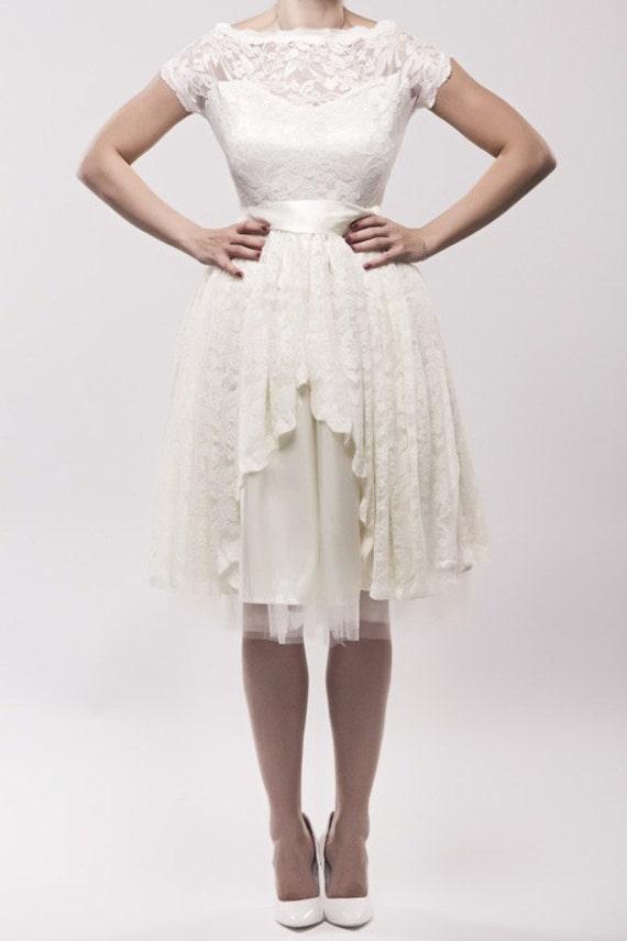 Tee Länge Elfenbein Hochzeitskleid Hochzeit Kleid Kleid